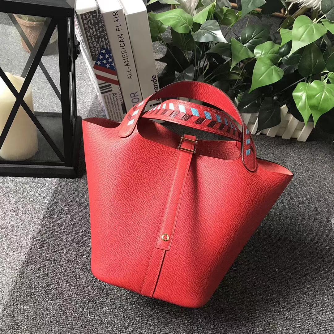 Hermès(爱马仕)Picotin Lock 新色 心红色 编织手腕 原厂御用顶级Epsom皮 银扣 18cm 现货