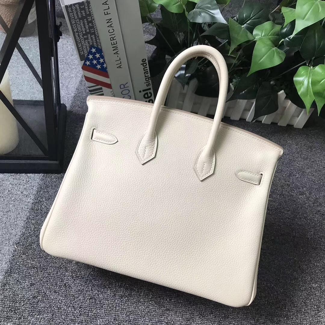 Hermès(爱马仕)Birkin铂金包 奶昔白 原厂御用顶级小牛皮 金扣 25cm 现货