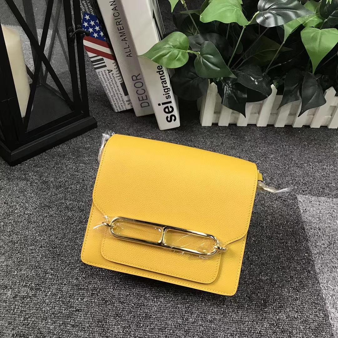 Hermès(爱马仕) Roulis猪鼻包 9D 琥珀黄 原厂御用顶级Ever Color 皮  金扣 19cm 现货