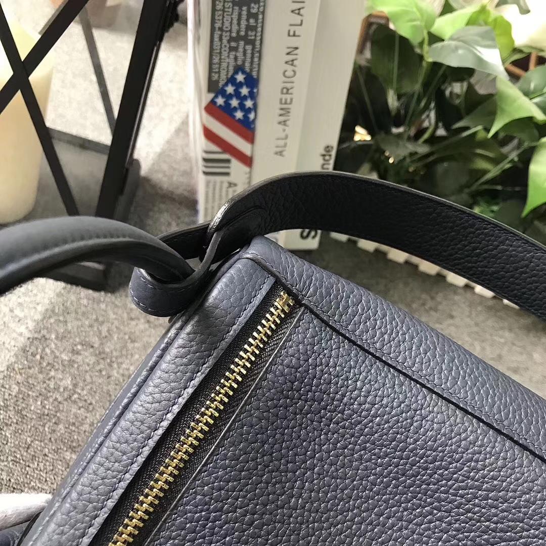 Hermès(爱马仕)Lindy琳迪包 午夜蓝 原厂御用顶级TC 皮 金扣 30cm 现货