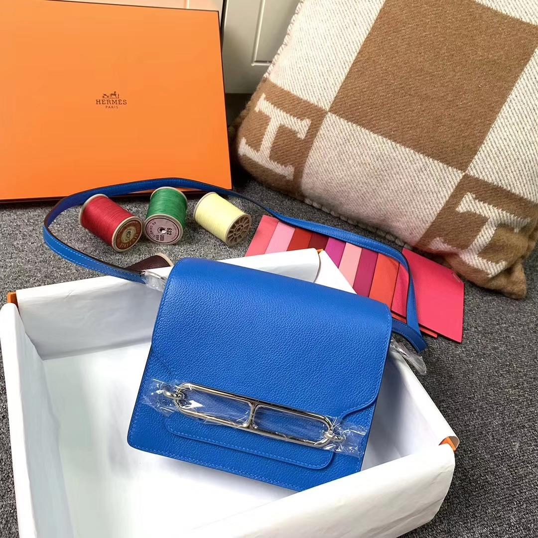Hermès(爱马仕)水妖蓝 原厂御用顶级Ever color 皮 Roulis 19 银扣 现货