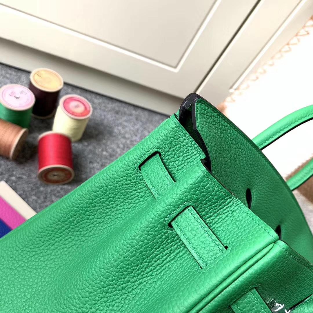 Hermès(爱马仕)1K竹子绿 原厂御用顶级小牛皮 Birkin 25 银扣