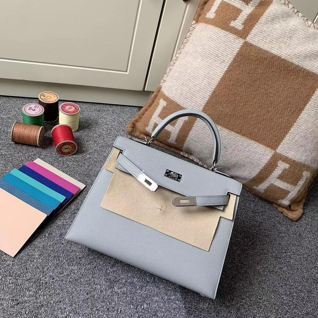 Hermès(爱马仕)8U 冰川蓝 原厂御用顶级Epsom 皮 Kelly 25 外缝 银扣