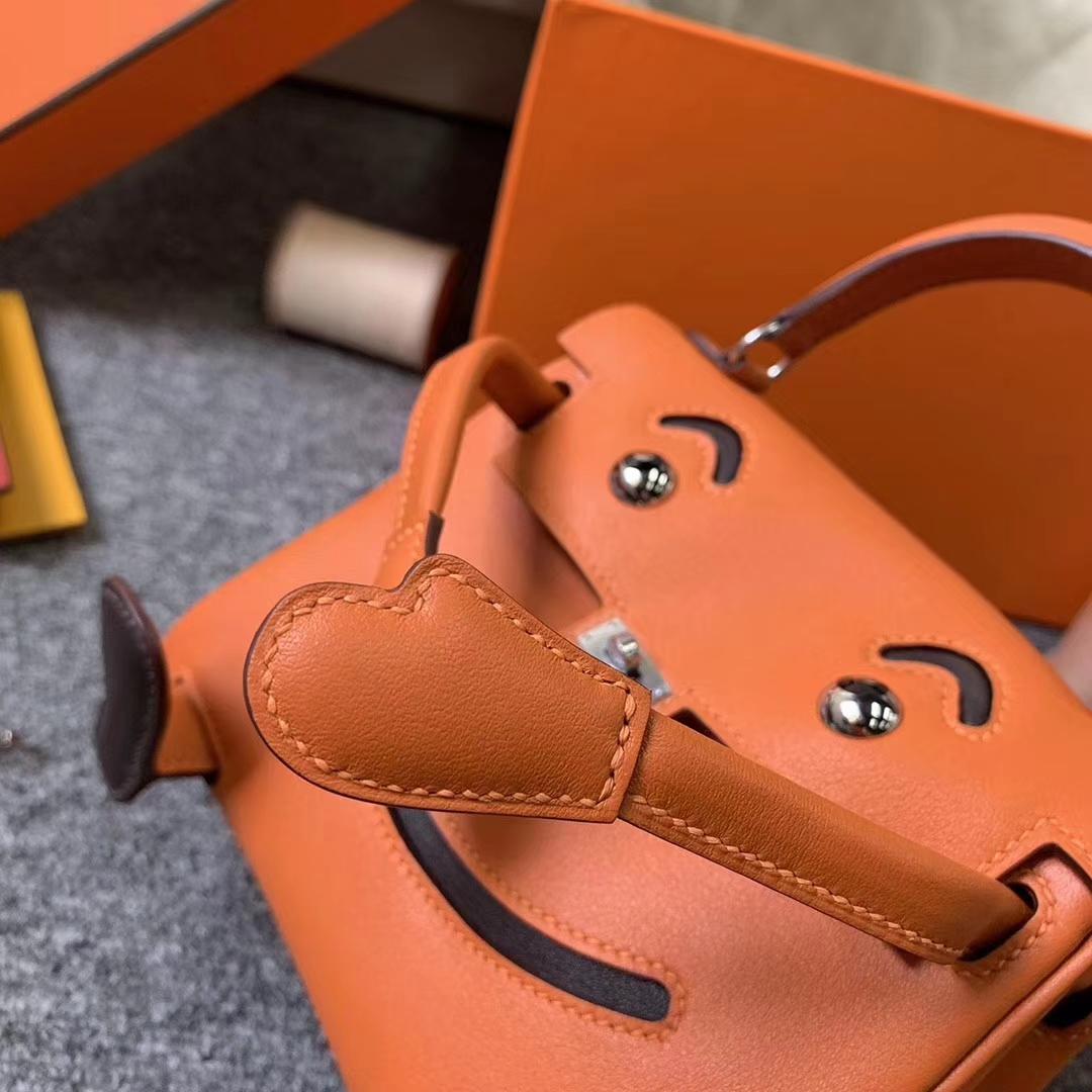 Hermès(爱马仕)Kelly doll 橙色拼咖啡 原厂御用顶级Swift 皮 银扣 现货