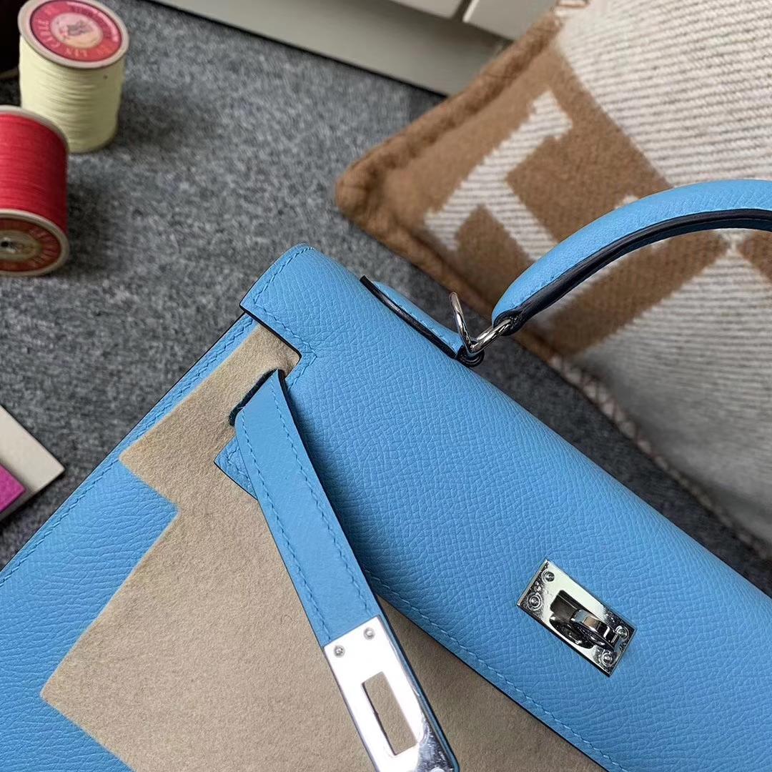 Hermès(爱马仕)北方蓝 原厂御用顶级Epsom皮 Kelly 25 外缝 银扣 现货