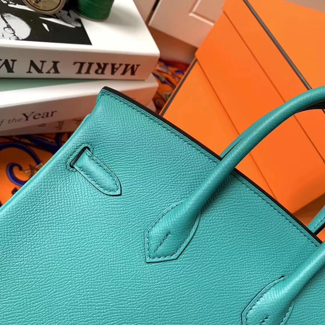 Hermès(爱马仕)罗维纳绿 原厂御用顶级Epsom 皮 Birkin 25 银扣 现货