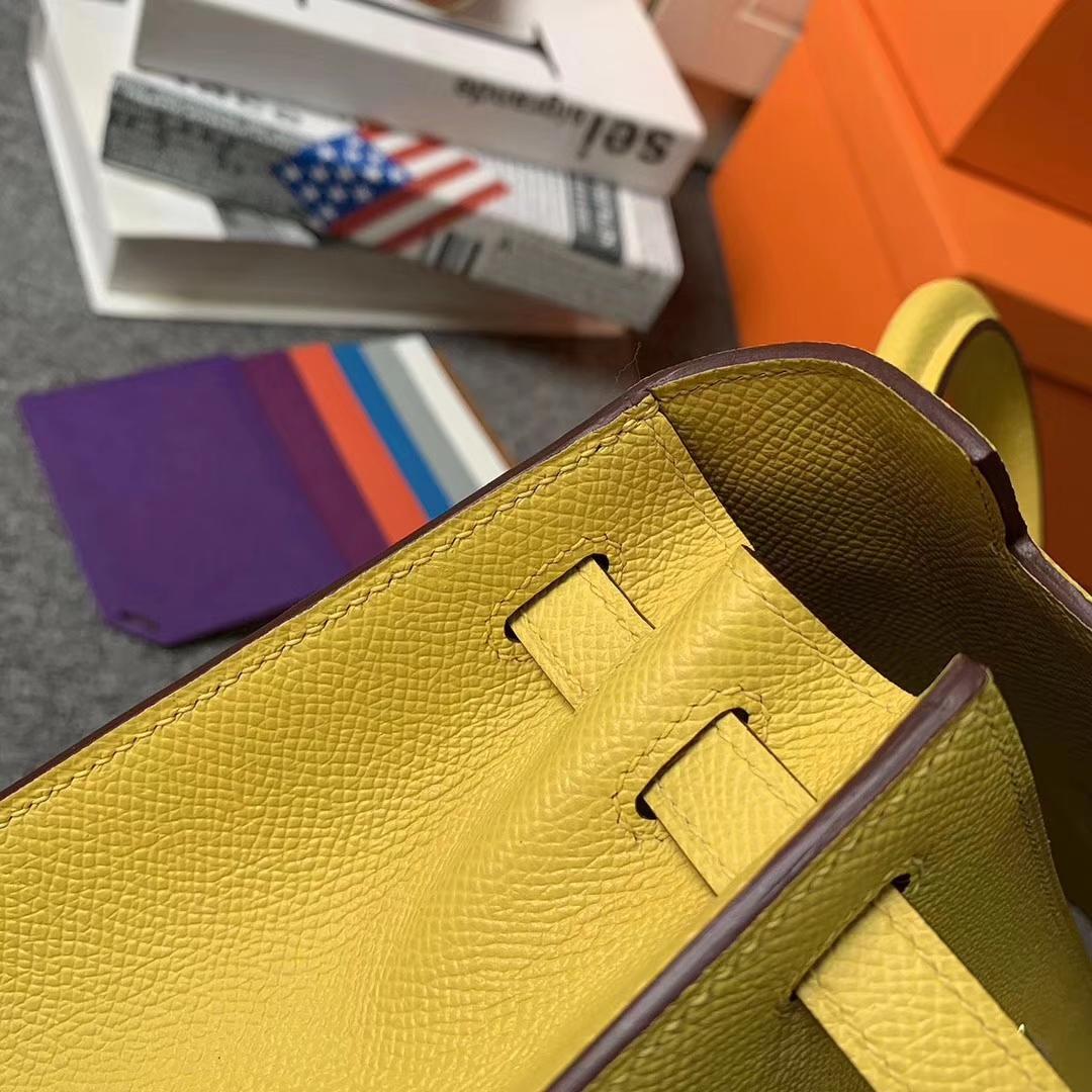 Hermès(爱马仕)那不勒斯黄 原厂御用顶级Epsom皮 Kelly 25 外缝 金扣 银扣 现货