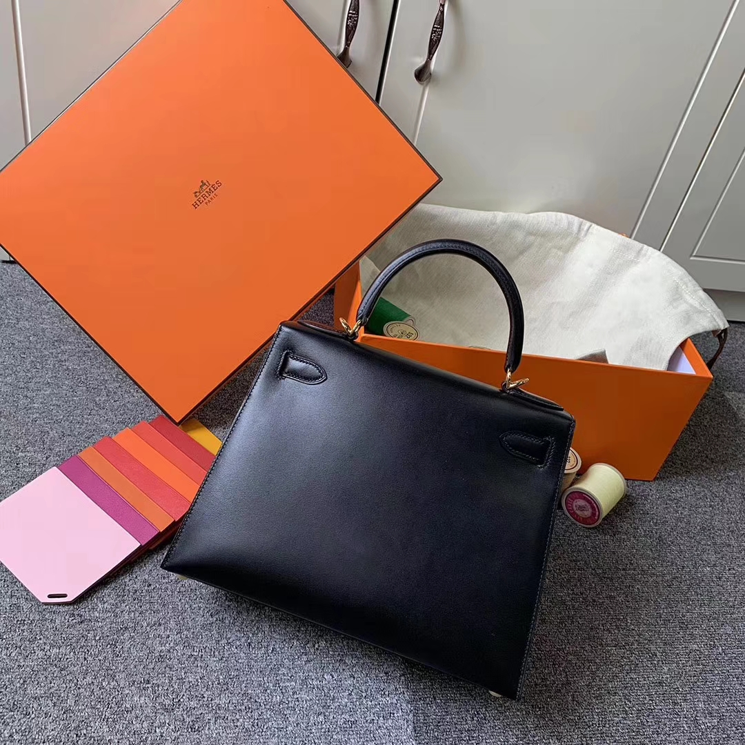 Hermès(爱马仕)CK89 黑色 原厂御用顶级Box 皮 Kelly 28 外缝 金扣 现货