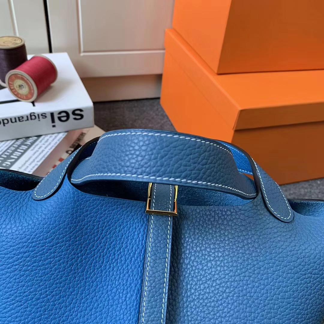 Hermès(爱马仕)牛仔蓝拼坦桑尼亚蓝 原厂御用顶级TC 皮 Picotin  Lock 18cm 金扣