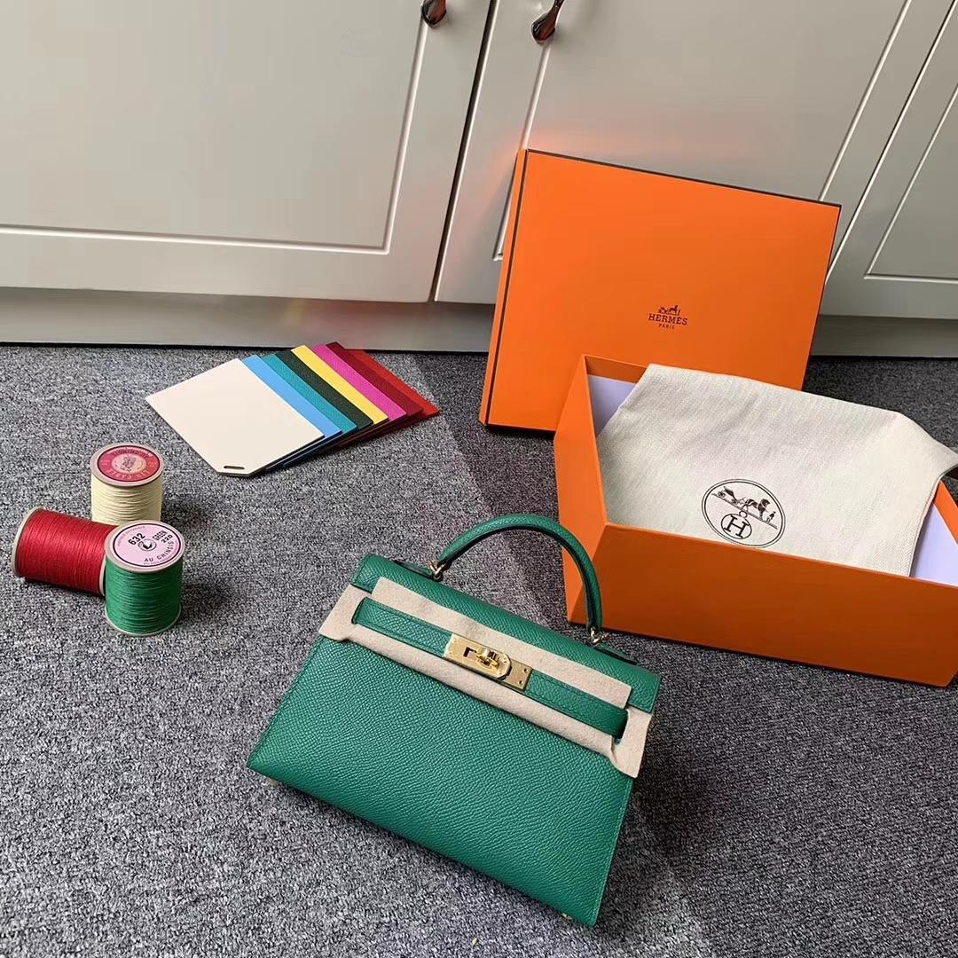 Hermès(爱马仕)U4丝绒绿 原厂御用顶级Epsom皮 Mini Kelly 二代 金扣 现货