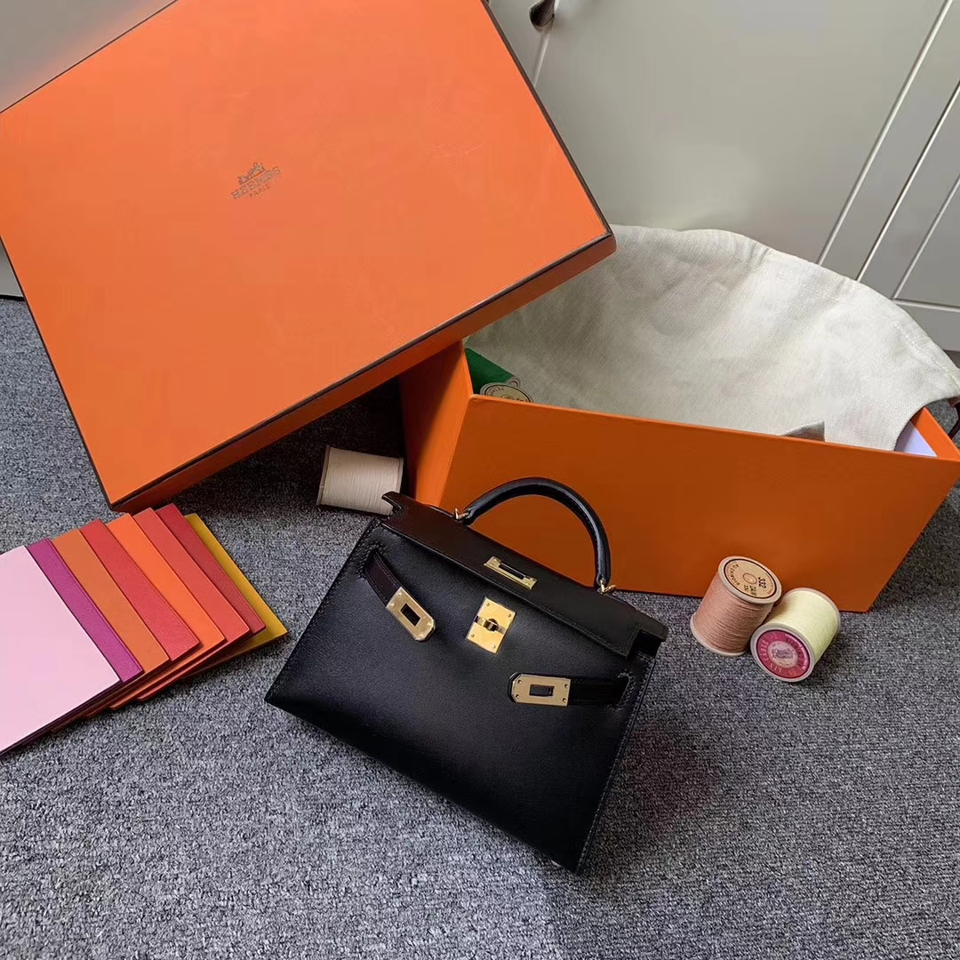 Hermès(爱马仕)CK89 黑色 原厂御用顶级Epsom皮 Mini Kelly 二代 金扣 现货