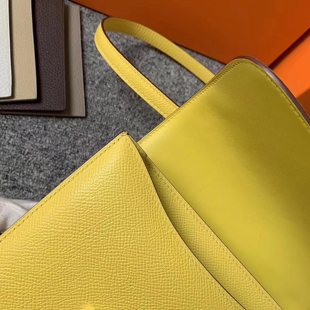 Hermès(爱马仕)X9 那不勒斯黄 原厂御用顶级Epsom 皮 Constance 19 玫瑰金扣 现货