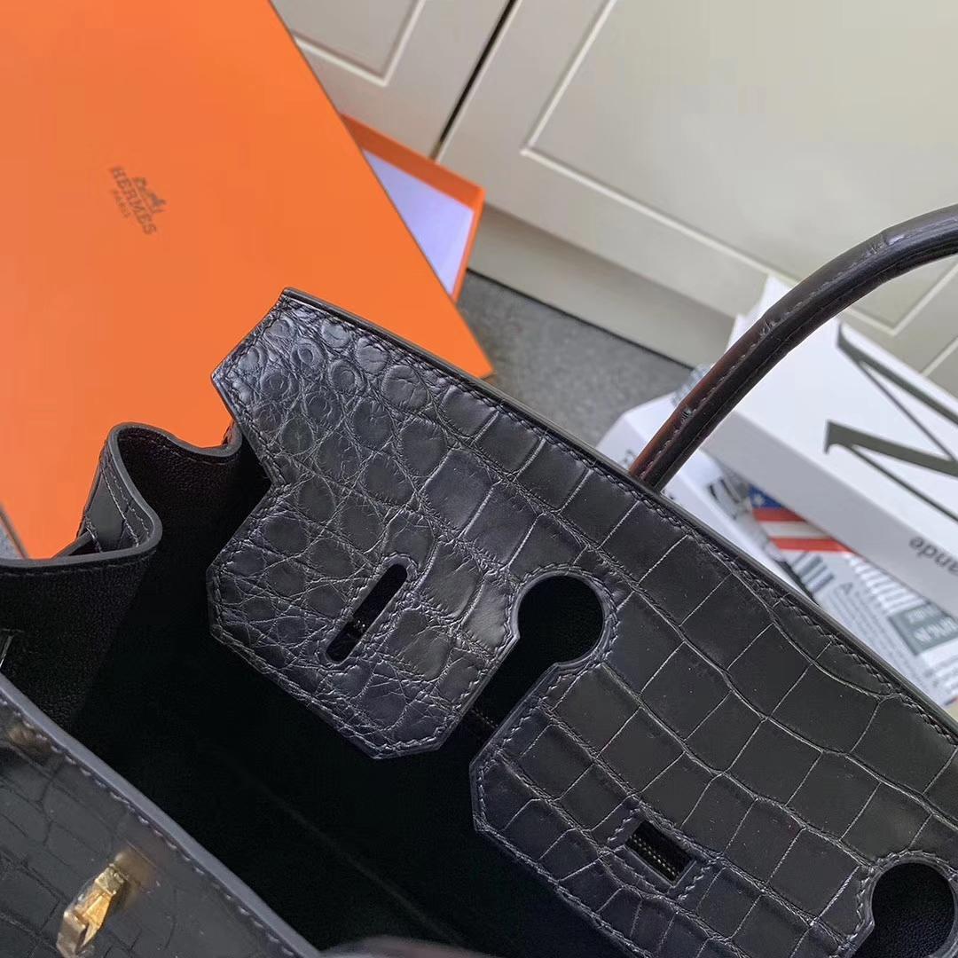 Hermès(爱马仕)CK89 黑色 原厂御用顶级鳄鱼皮 Birkin 30 金扣