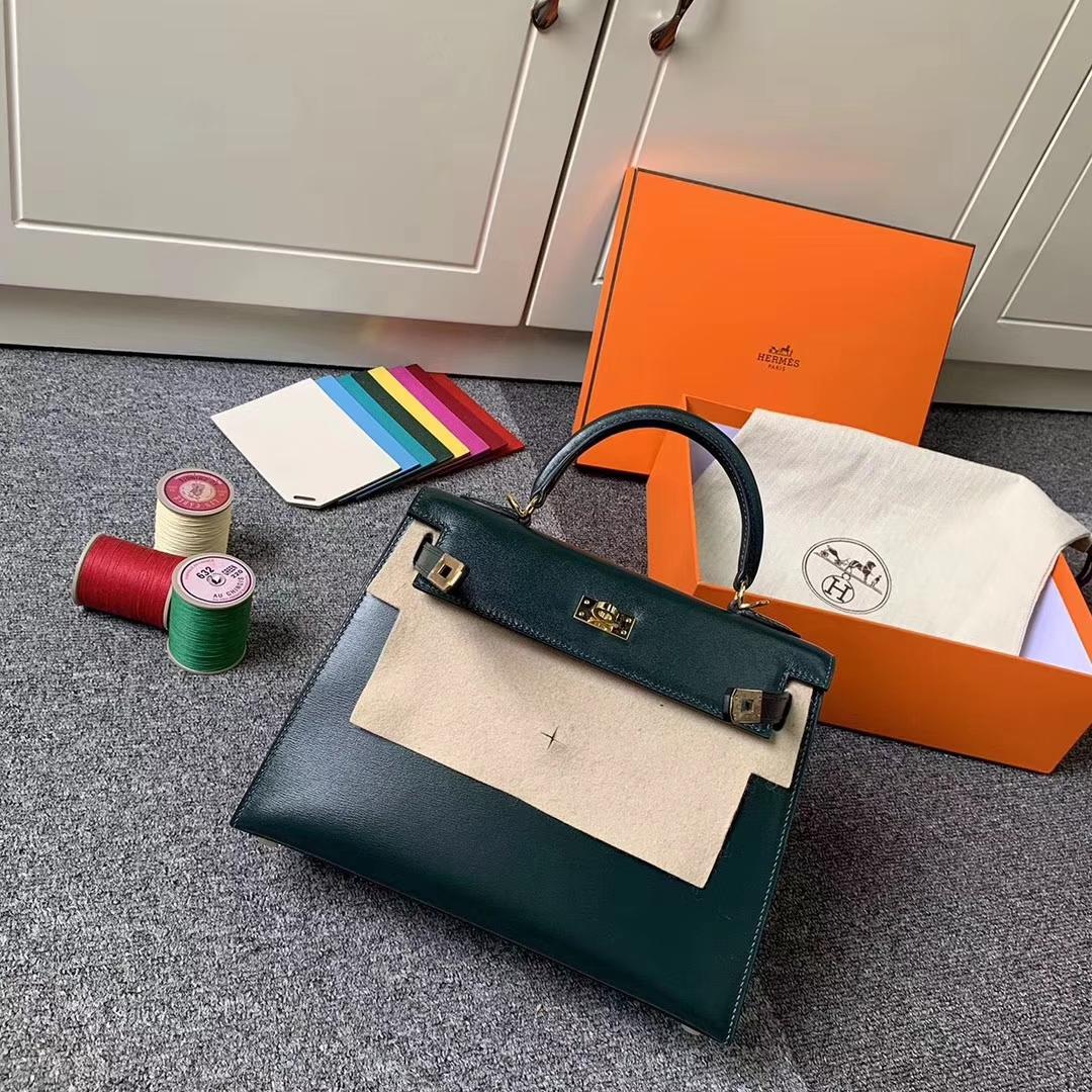 Hermès(爱马仕)2Q英国绿 原厂御用顶级Box皮 Kelly 25 外缝 金扣 现货