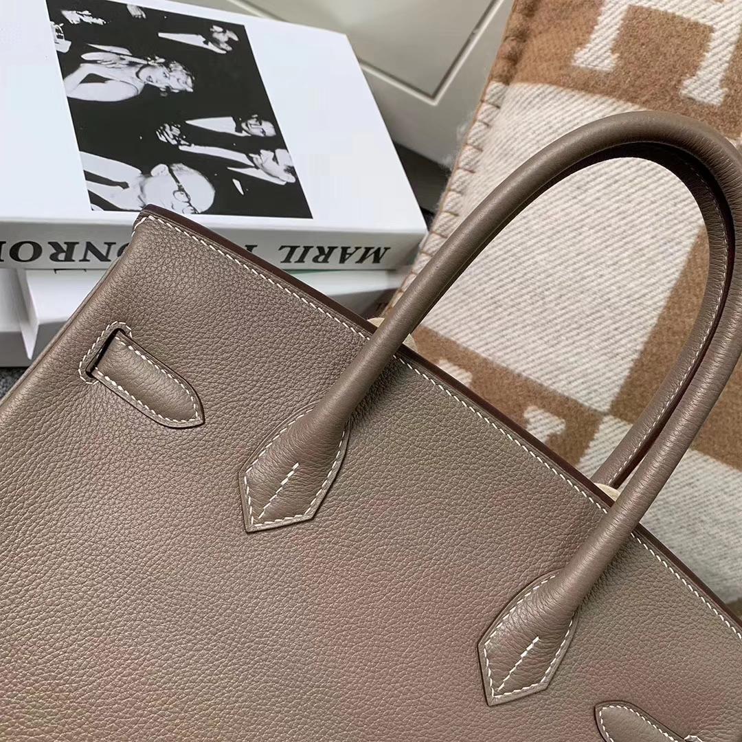 Hermès(爱马仕)Birkin铂金包 CK18 大象灰 原厂御用顶级小牛皮 金扣 30cm 现货