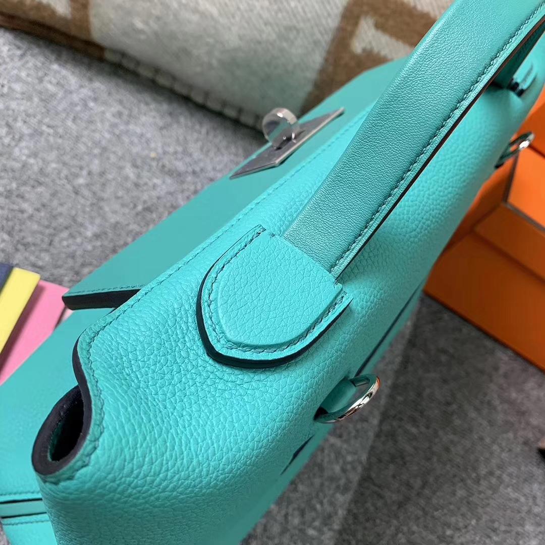 Hermès(爱马仕)罗维纳绿 原厂御用顶级小牛皮拼Swift 皮 2424 银扣