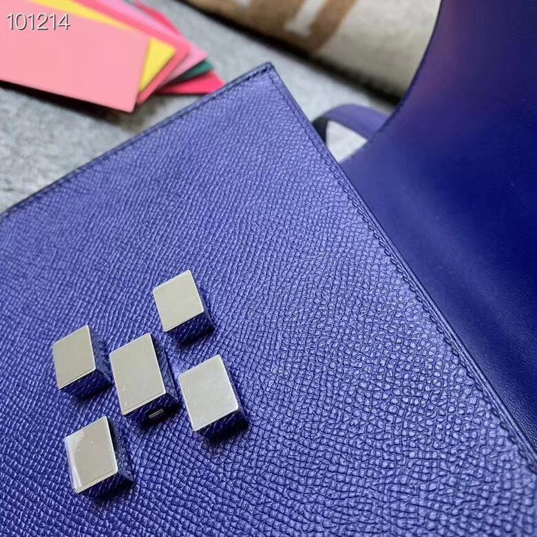 Hermès(爱马仕)深遂蓝 原厂御用顶级Epsom 皮 马赛克 银扣