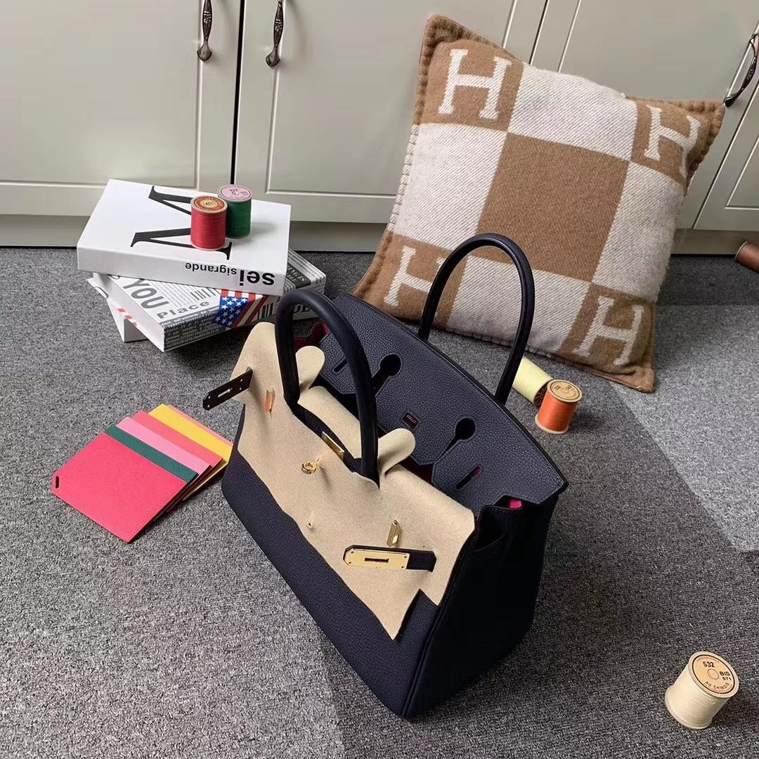 Hermès(爱马仕)Birkin铂金包 午夜蓝内拼L3玫瑰紫 原厂御用顶级小牛皮 金扣 30cm 现货