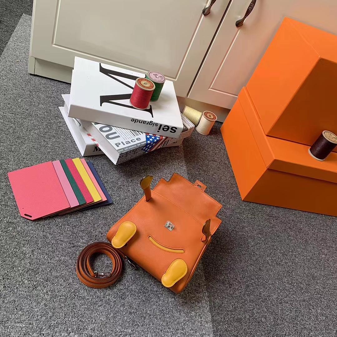 Hermès(爱马仕)Kelly doll 橙色拼芥末黄 原厂御用顶级Swift 皮 银扣