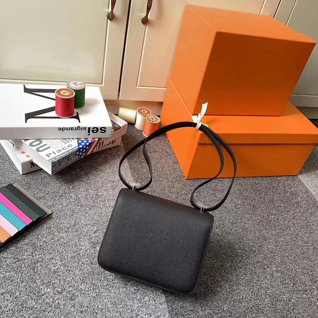 Hermès(爱马仕)CK89 黑色 原厂御用顶级Epsom 皮 Constance 19 银扣 现货