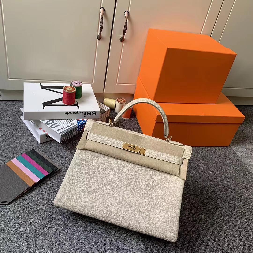 Hermès(爱马仕)奶昔白 原厂御用顶级小牛皮 Kelly 32 金扣