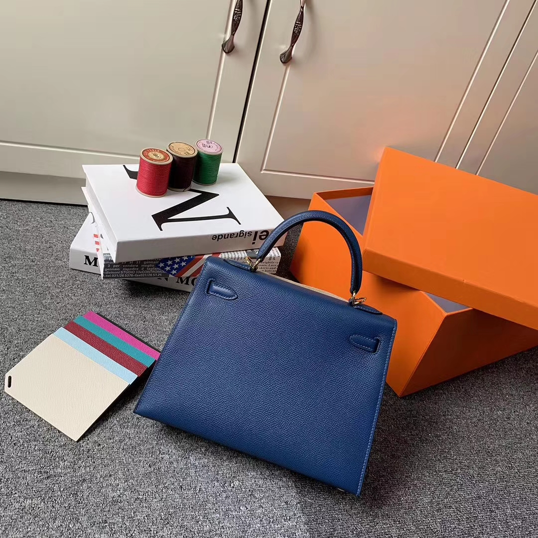 Hermès(爱马仕)S4 深邃蓝 原厂御用顶级Epsom 皮 Kelly 25 外缝 金扣