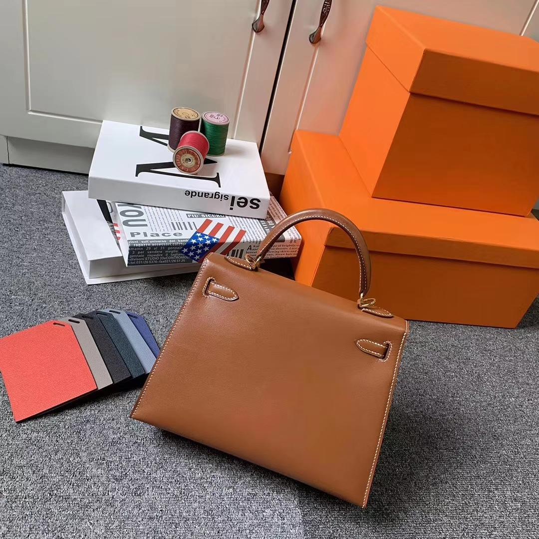 Hermès(爱马仕)C37 金棕色 原厂御用顶级Box皮 Kelly 25 外缝 金扣