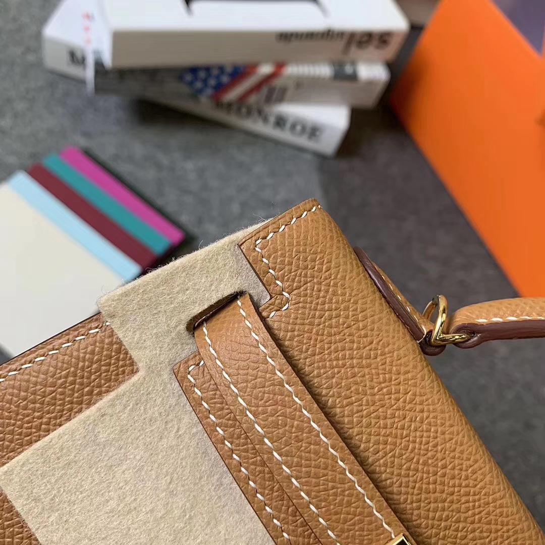 Hermès(爱马仕)C37 金棕色 原厂御用顶级Epsom 皮 Mini Kelly 二代 金扣 现货