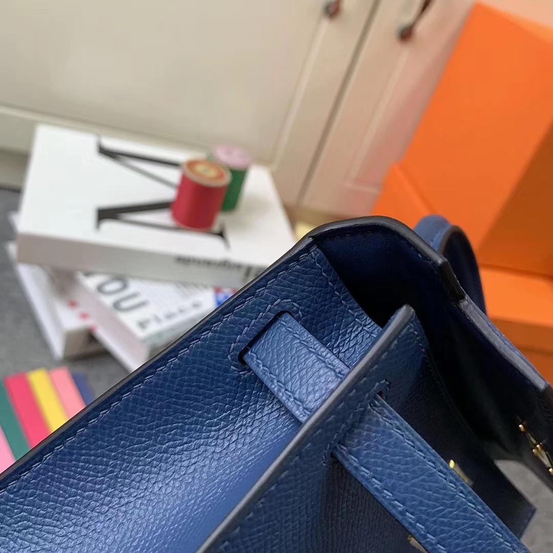 Hermès(爱马仕)S4 深邃蓝 原厂御用顶级Epsom 皮  Mini Kelly 二代 银扣 现货