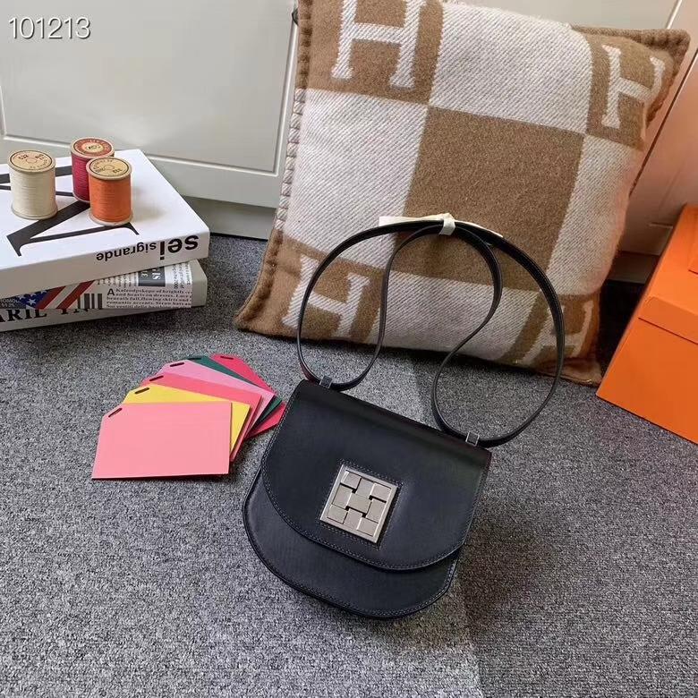 Hermès(爱马仕)黑色 原厂御用顶级box皮 马赛克 银扣