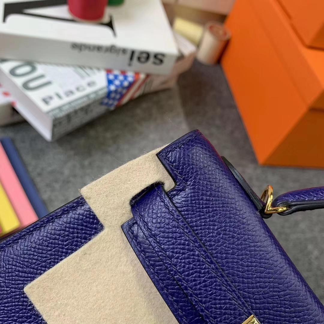 Hermès(爱马仕)M3 墨水蓝 原厂御用顶级Epsom 皮  Mini Kelly 二代 金扣 现货
