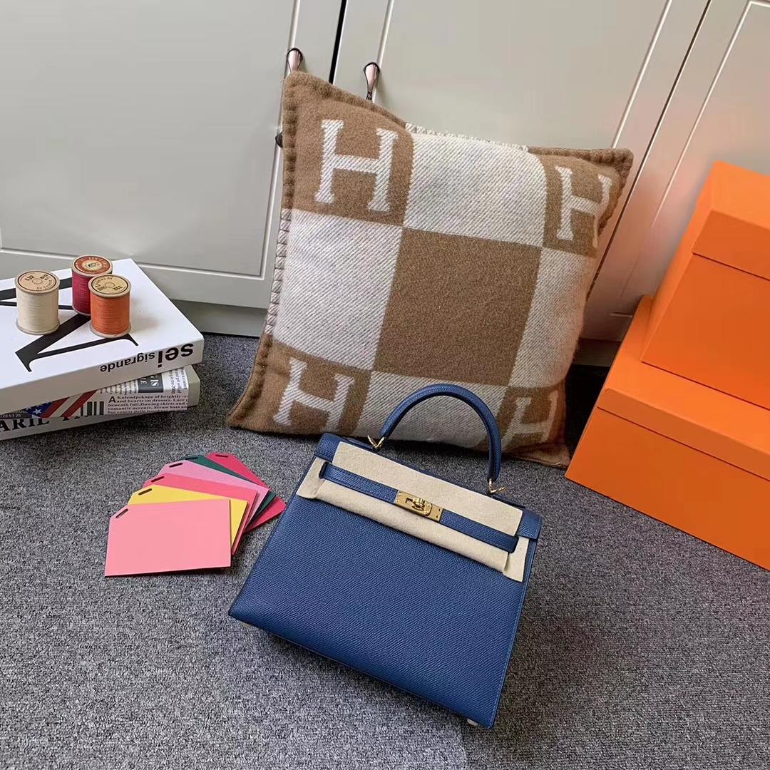 Hermès(爱马仕)Kelly 凯莉包 S4 深邃蓝 原厂御用顶级Epsom皮 外缝 金扣 25cm