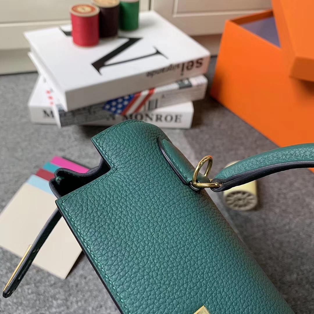 Hermès(爱马仕)Z6 孔雀绿 原厂御用顶级小牛皮 Kelly 25 金扣