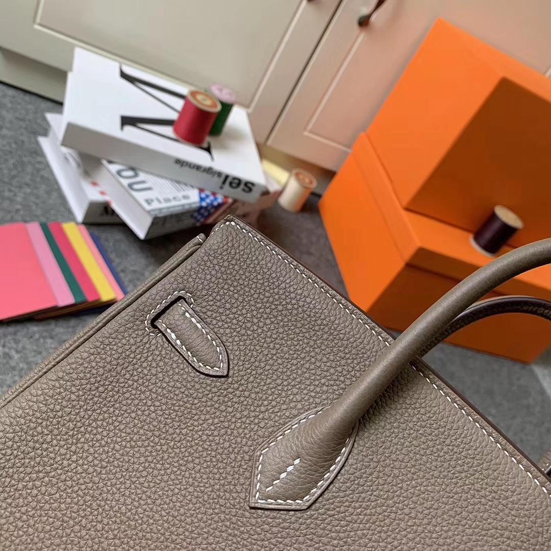 Hermès(爱马仕)CK18 大象灰 原厂御用顶级小牛皮 Birkin 25 金扣 现货