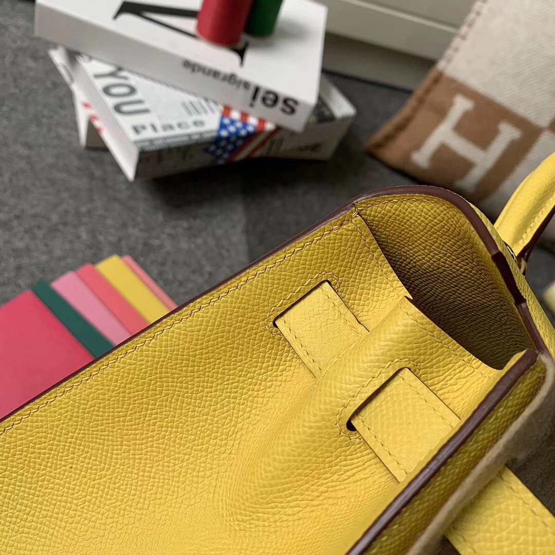 Hermès(爱马仕)那不勒斯黄 原厂御用顶级Epsom 皮 Kelly 28 外缝 银扣 现货
