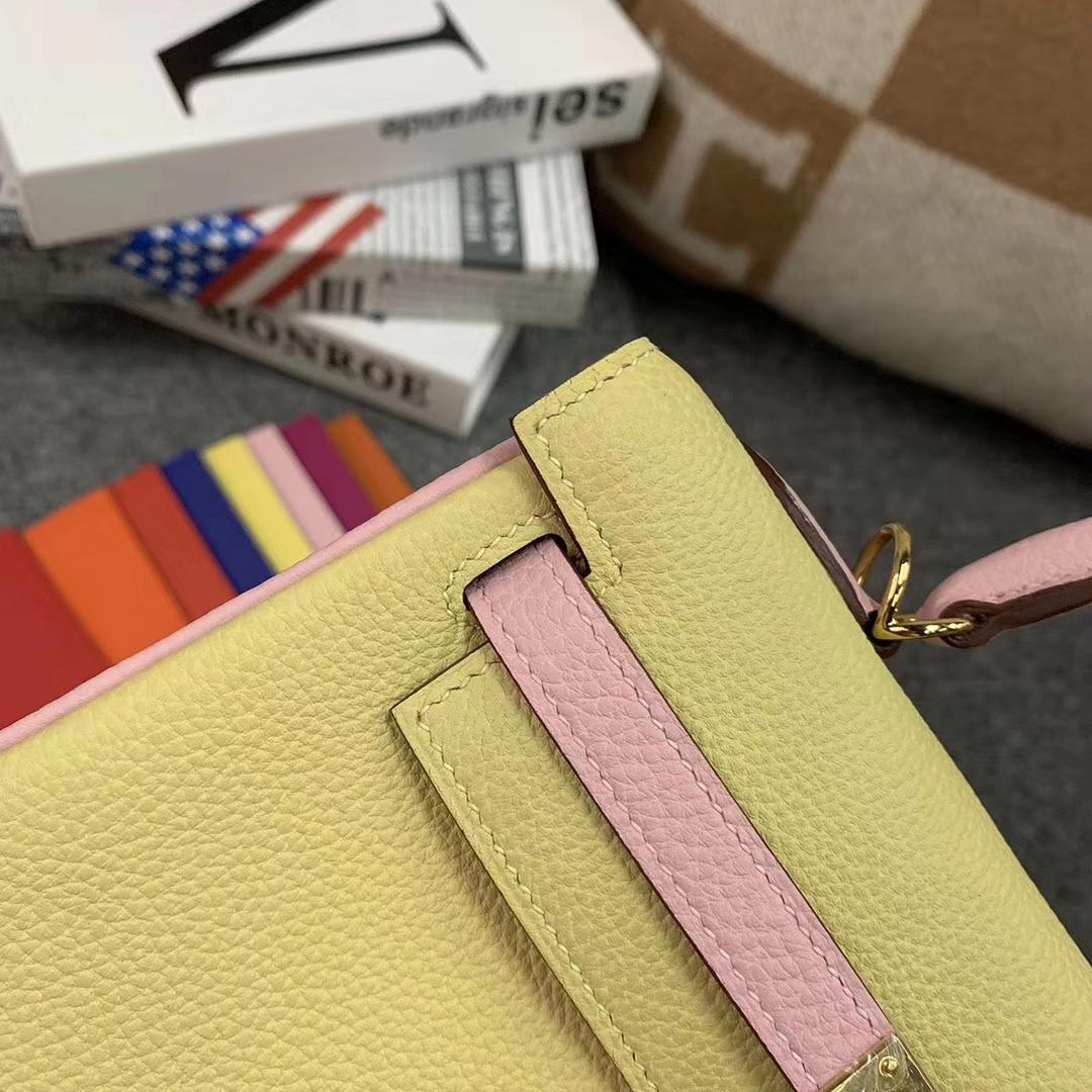 Hermès(爱马仕)柠檬黄 拼 新樱花粉 原厂御用顶级小牛皮 Kelly 25 金扣