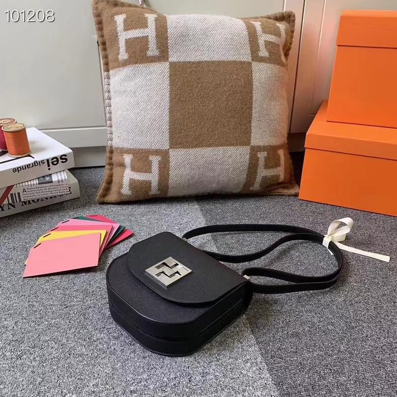 Hermès(爱马仕)黑色 原厂御用顶级Epsom 皮 马赛克 银扣