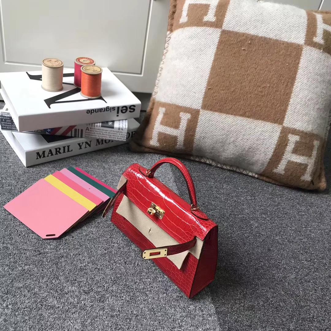 Hermès(爱马仕)法拉利红 原厂御用顶级鳄鱼皮 Mini Kelly 二代 金扣