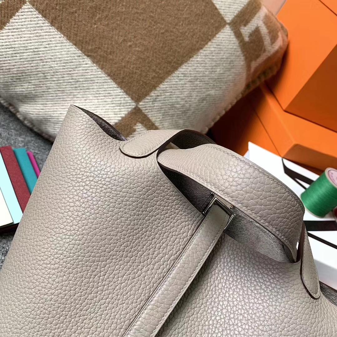 Hermès(爱马仕)M8 沥青灰 原厂御用顶级Epsom 皮 Picotin  Lock 银扣 18cm