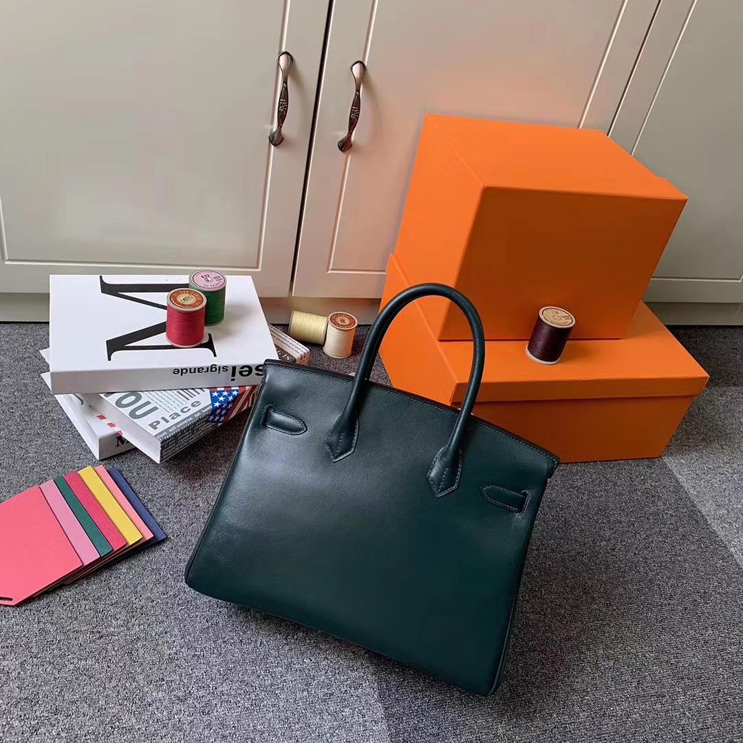 Hermès(爱马仕)2Q英国绿 原厂御用顶级Box 皮 Birkin 30 金扣 现货