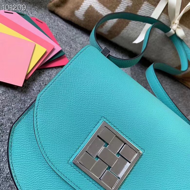 Hermès(爱马仕)罗维纳绿 原厂御用顶级Epsom皮 马赛克 银扣