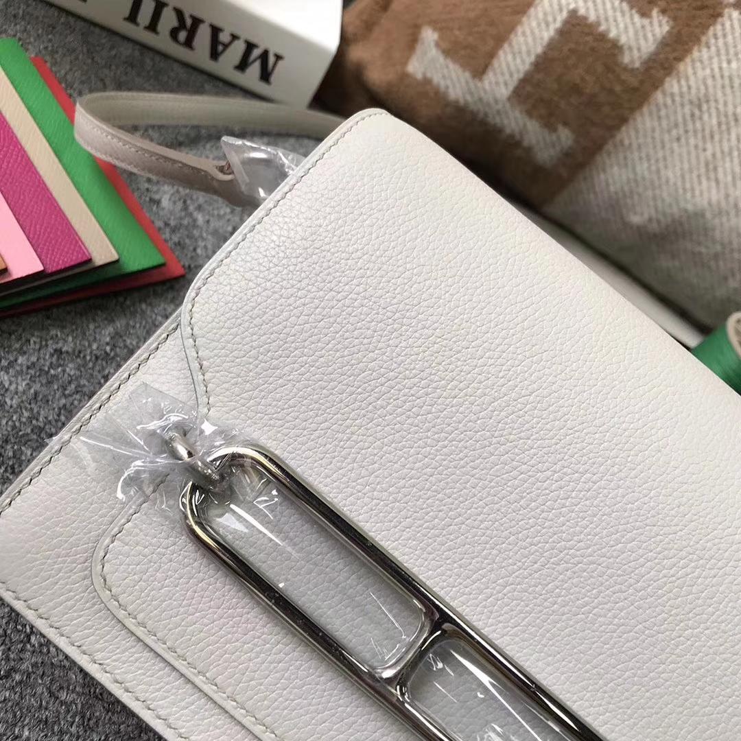 Hermès(爱马仕)8L冰川白 原厂御用顶级Ever Color 皮 Roulis 银扣 19cm 现货