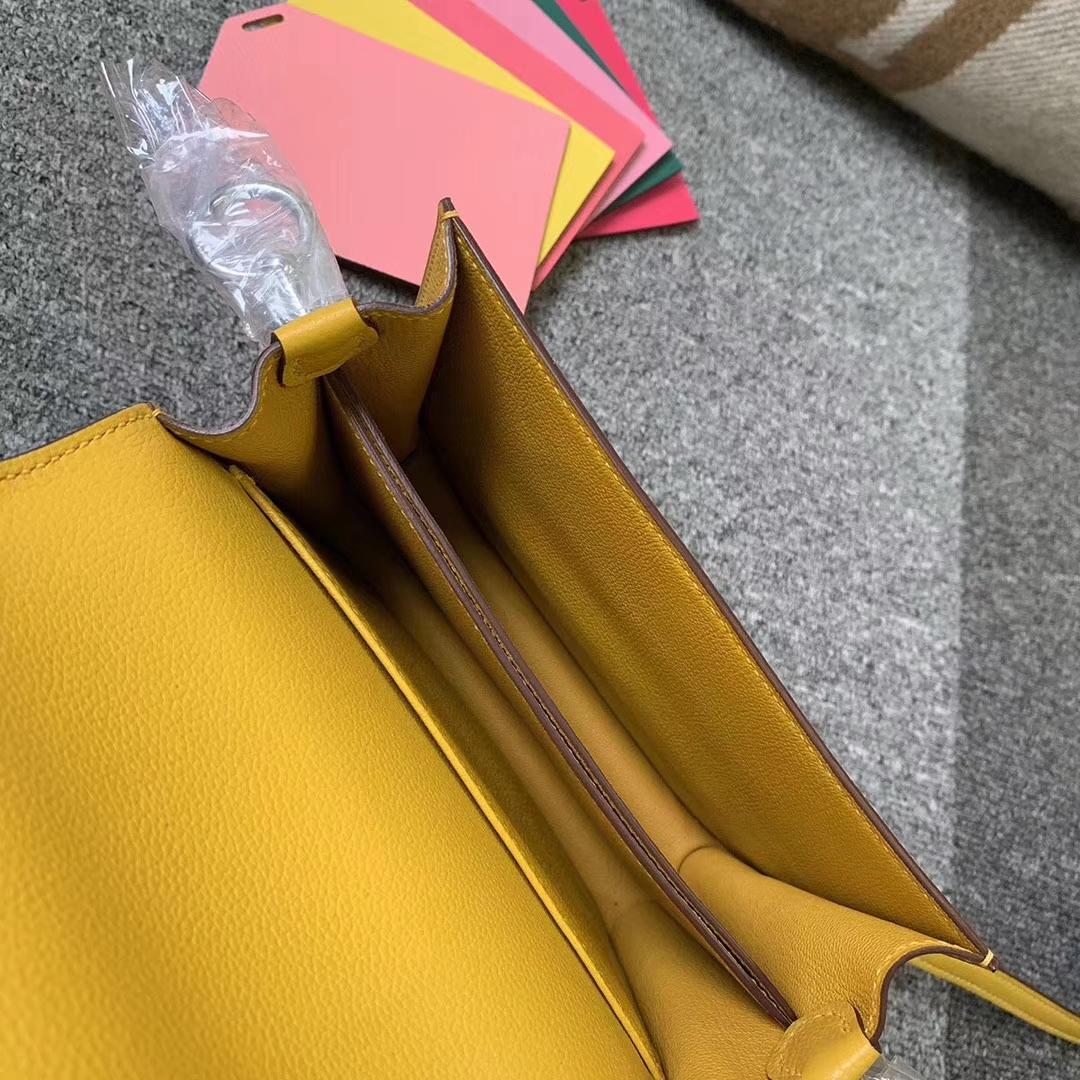 Hermès(爱马仕)Roulis猪鼻包 9D琥珀黄 原厂御用顶级ever color 皮 银扣 19cm 现货