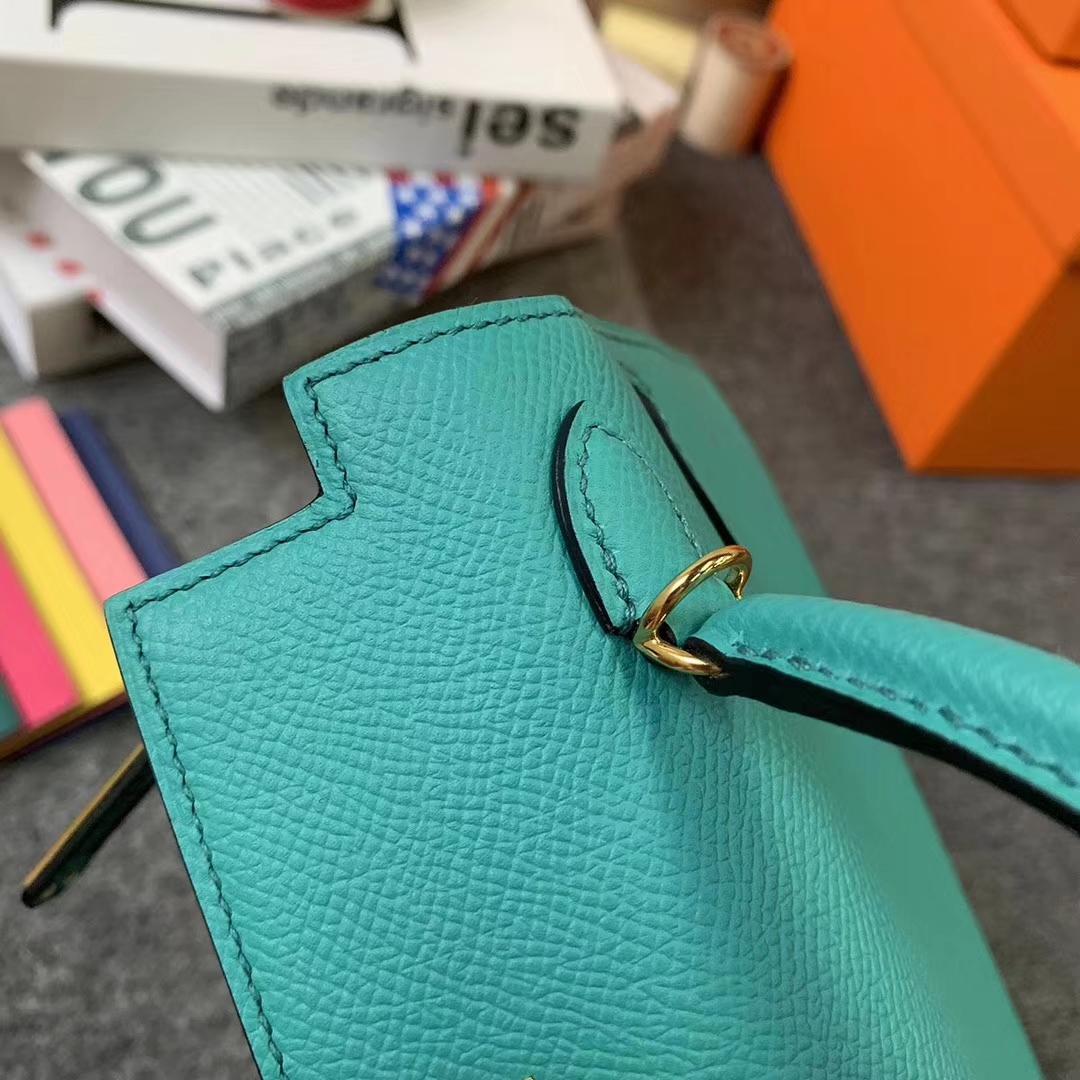 Hermès(爱马仕)罗威纳绿 原厂御用顶级Epsom 皮  Mini Kelly 二代 金扣 现货