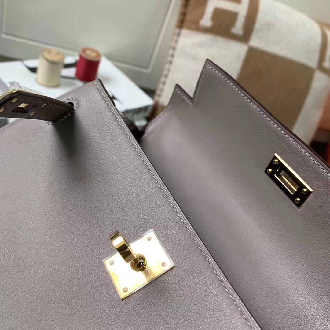 Hermès(爱马仕)Kelly 凯莉包 M8 沥青灰 原厂御用顶级Swift 皮 内缝 金扣 25cm
