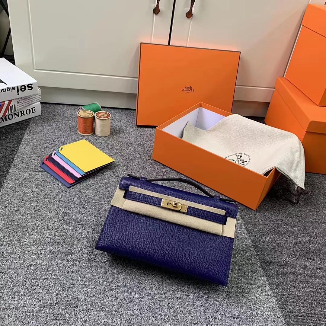 Hermès(爱马仕)7K宝石蓝 原厂御用顶级Epsom 皮 Mini Kelly 金扣