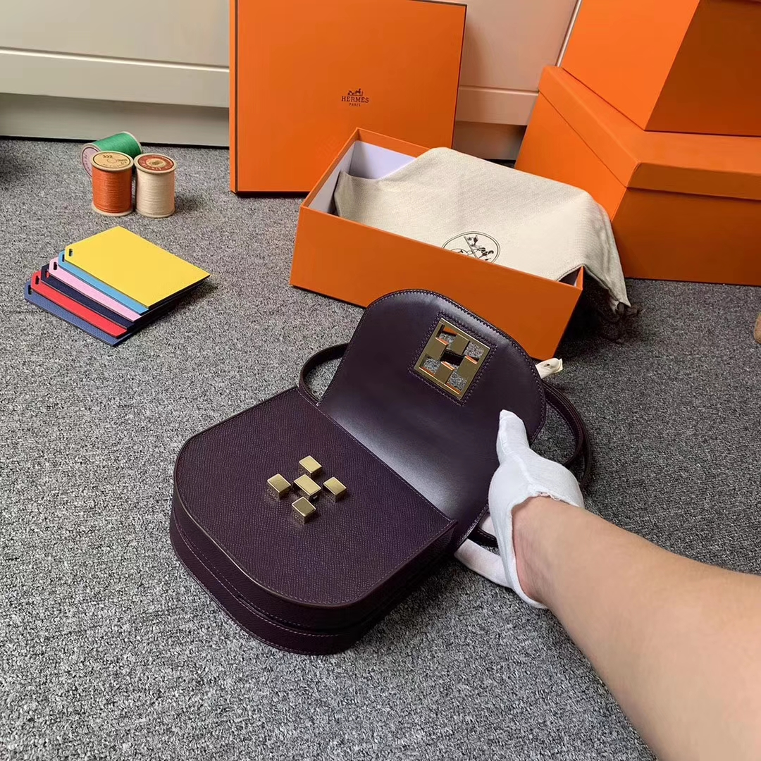 Hermès(爱马仕)葡萄紫 原厂御用顶级Epsom 皮 马赛克 金扣 现货