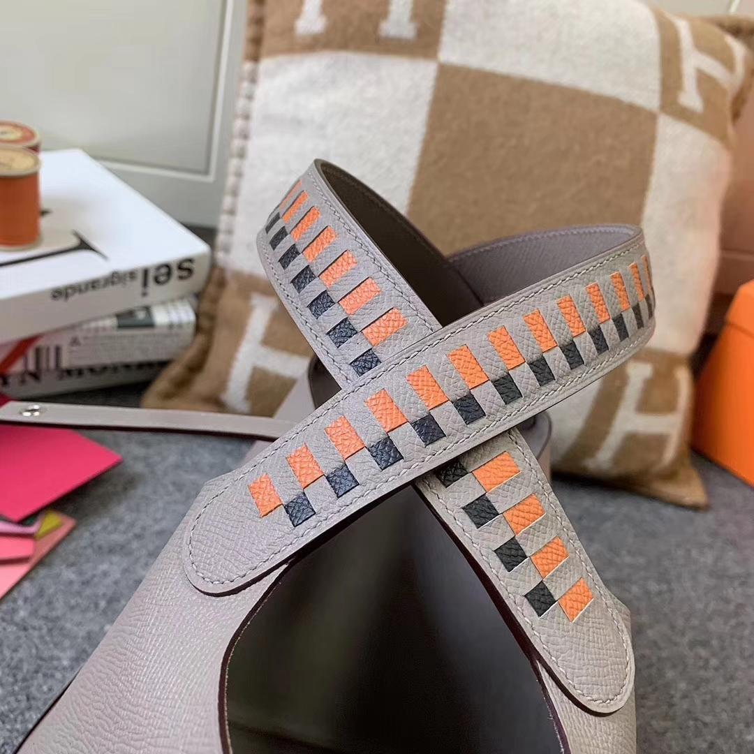 Hermès(爱马仕)Picotin Lock 菜篮包 M8 沥青灰 编织手腕 原厂御用顶级Epsom 皮 银扣 22cm