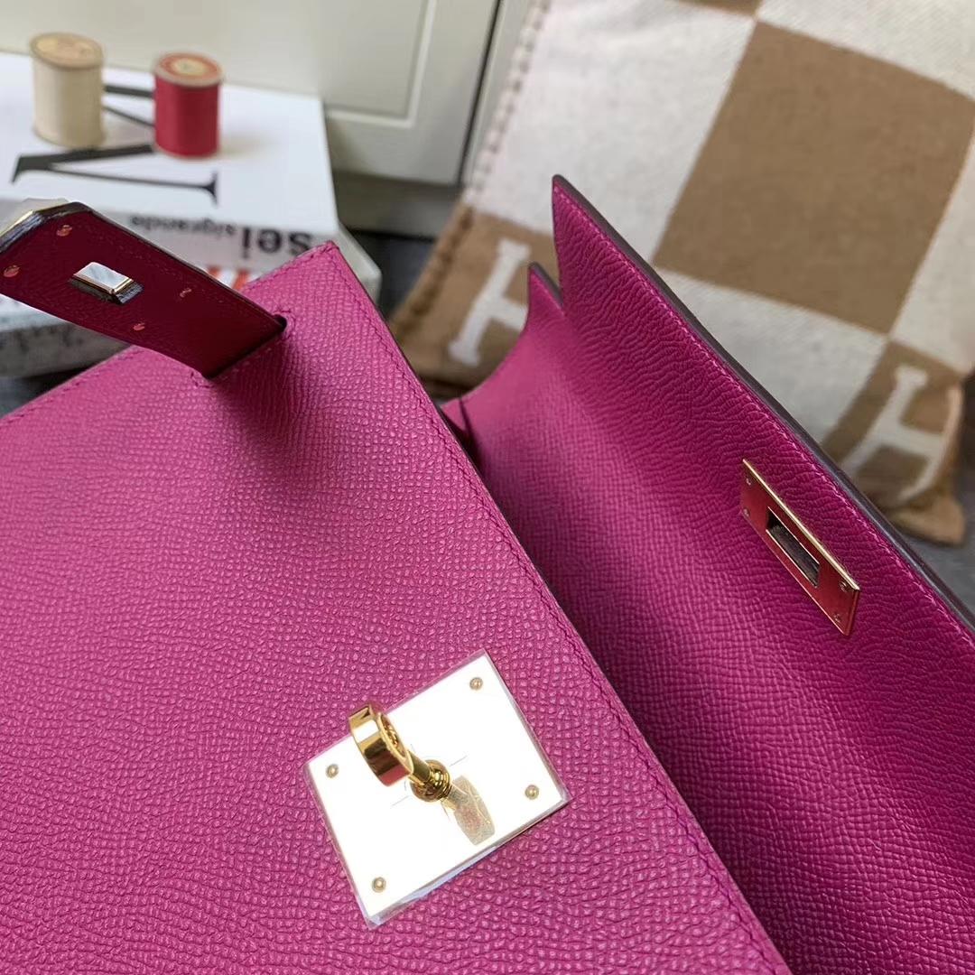 Hermès(爱马仕)L3 玫瑰紫 原厂御用顶级Epsom 皮 Kelly 28 外缝 金扣