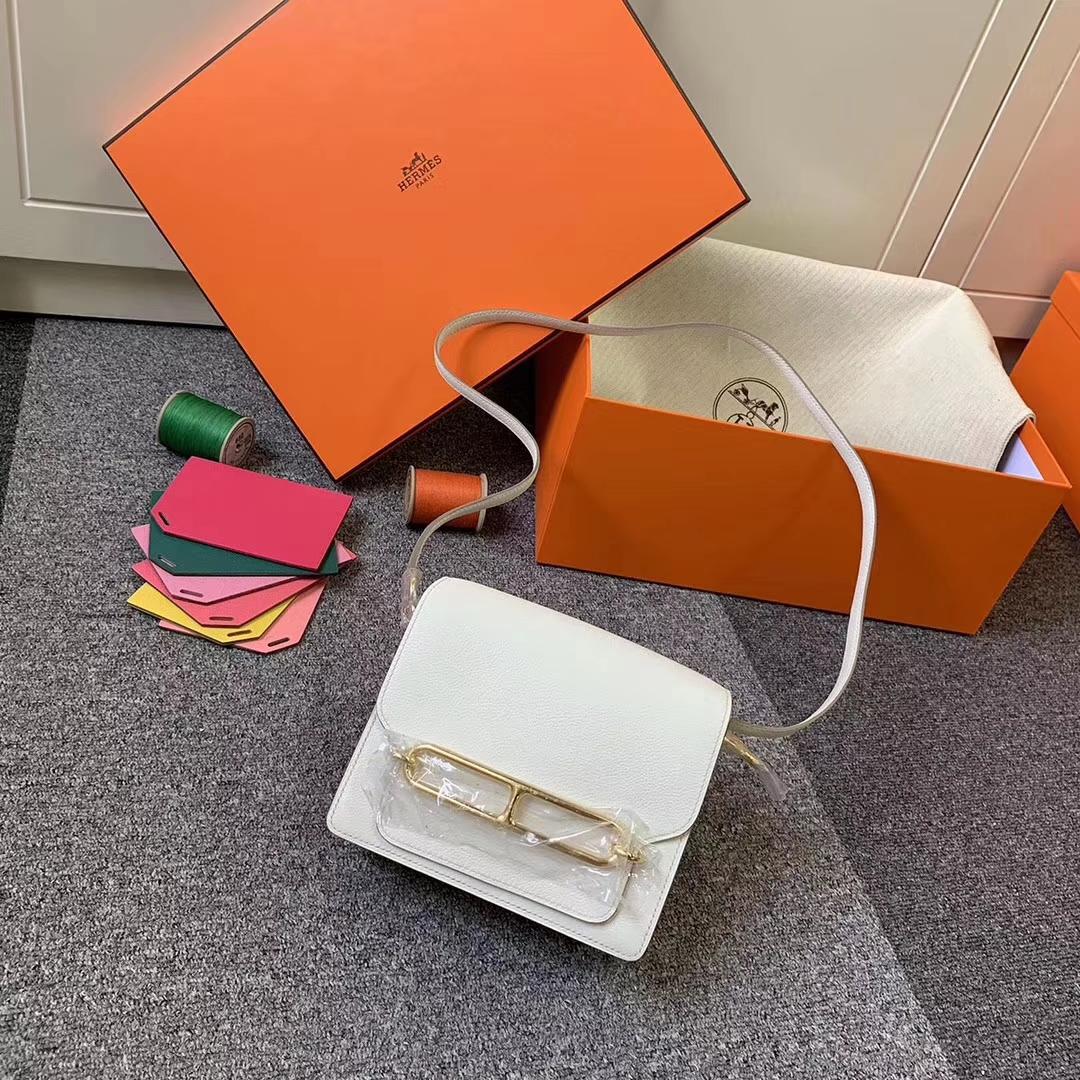 Hermès(爱马仕)8L冰川白 原厂御用顶级Ever Color 皮 Roulis 19 金扣 现货